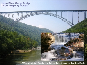 new river gorge bridge and sandstone falls