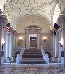 Wikimedia image is of the rotunda steps leading to Memorial Hall at the U.S. Naval Academy