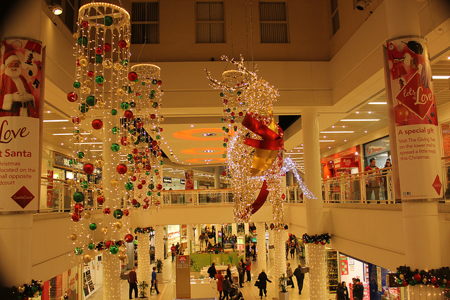 What can be more festive than a holiday bedecked mall - flickr image by e e paul