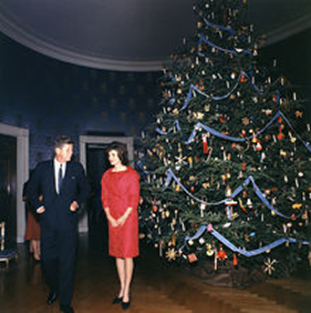 1961 marks the first year for a  'themed' Christmas tree in the White House during the Presidency of John F. Kennedy, which highlighted the Nutcracker ballet, a favorite of First Lady Jaqueline Kennedy - Wikimedia photo