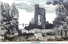 Tower of old Jamestown Church, ca 1639, shown in  1854 image, Wikimedia comons