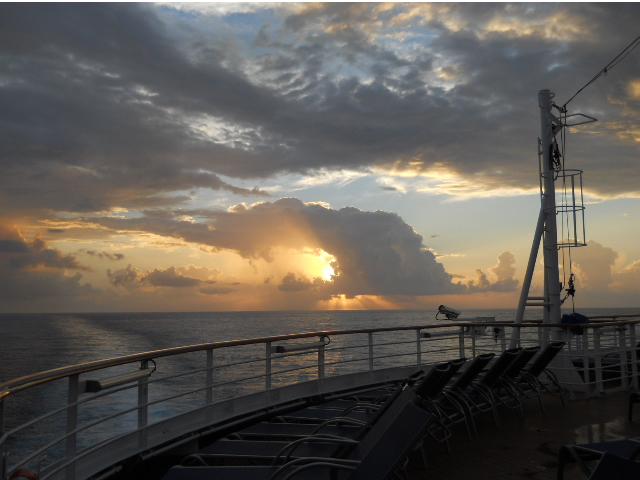 Sunrise in Cozumel, Mexico, from the bow of the Breeze