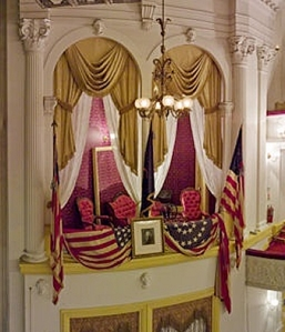 President Abraham Lincoln, presidential box in Ford's Theatre