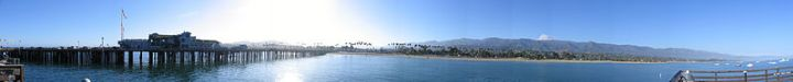Coastal view of Santa Barbara and Stearns Wharf, Wikimedia commons image